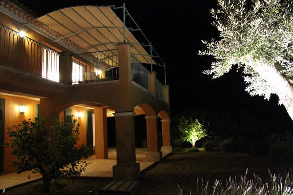 View house at night